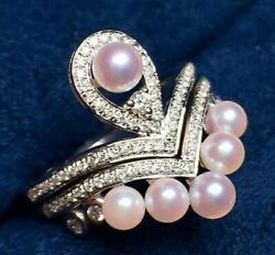 1.80ct Natural Diamond 14k Solid White Gold Pearl Cocktail Ring Size 7 To 9