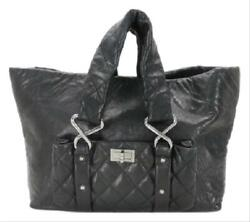 Black Jumbo Quilted Chain Reissue Tote Cocoon 213364