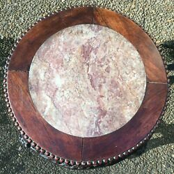 Antique Chinese Carved Rosewood Marble Top Plant Stand