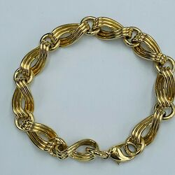 Heavy Solid 9ct 375 Yellow Gold Figure Of 8 Triple Band Bracelet L240