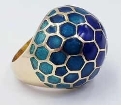 Blue Tones Enamel Dome Ring In 18 Kt Yellow Gold Andndash Retro Vintage Size 6.25 Us
