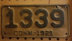 1921 Connecticut Motorcycle License Plate  All Original A Real Beauty