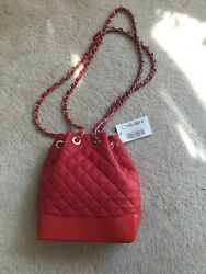 Quilted very red bag $45.00