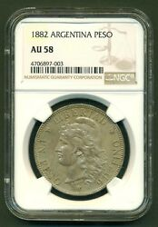 Argentina Silver Coin 1 One Peso Patacon 1882 Crown Dollar Size Au58 Cond.