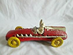 Cast Iron Red Michelin Man Car Signed 1934 Hubley