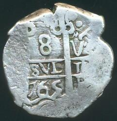 Potosi Mint Bolivia Under Spain Silver Cob Coin 8 Eight Reales 1765 V Xf Cond.