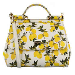 Dolce And Gabbana Dauphine Leather Lemon Print Bag Tote Sicily White Yellow 08830