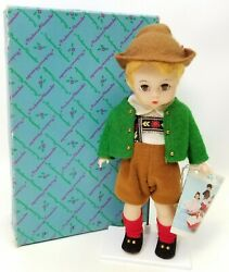 Madame Alexander 1962 Tyrolean Boy Bent Knee Doll And Stand 799 Blue Eyes New