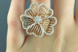 5250 18k Rose Gold 1.24ct Round Diamond Cocktail Open Flower Ring Band Size 6.5