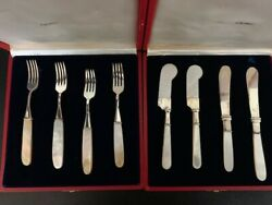 Sterling Silver Mother Of Pearl Forks And Knives Cavier Butter Vintage