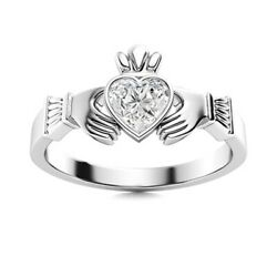 Certified 1/2 Ctw Heart Cut Natural Vs Diamond Claddagh Ring 14k White Gold