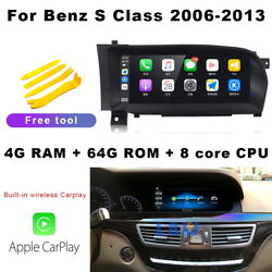 Android 10 Car Gps Navigation Audio Built-in Wireless Carplay For Benz S350 W221