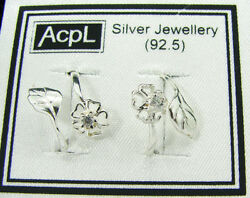 925 Solid Sterling Silver Beautiful Handmade Pair Of Toe Rings With Cz - 900