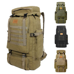 Men#x27;s 70L Outdoor Camping Hiking Trekking Canvas Backpack Military Tactical Bag $24.60