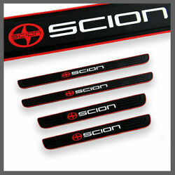4pcs Red-black Rubber Door Scuff Sill Cover Panel Step Protector For Scion