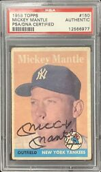 Mickey Mantle Signed 1958 Topps 150 Baseball Card Autograph Yankees Psa/dna