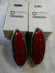 1949-1950 Ford Complete Led Tail Lights And Bezels Restore Customize Nice