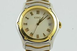 Ebel Classic Wave Menand039s Watch 1187f41 Quartz 1 5/8in Steel / 18k 750 Solid Gold