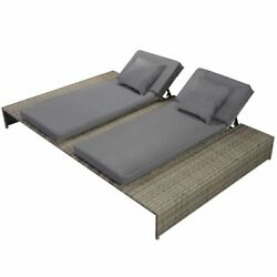 Beach Pool Double Sunlounger Poly Rattan Wicker Gray Garden Daybed Lounge Sunbed