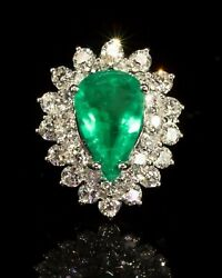 14 K White Gold With Natural Colombian Emerald And Diamonds Ring Sz 7 New