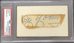 Cy Young Signed Cut Baseball Hof Autograph Perfect Game Boston Red Sox Psa/dna