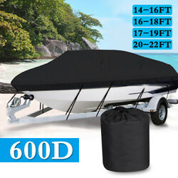 Heavy Duty 600d Marine Grade Waterproof V-hull Trailerable Runabout Boat Cover