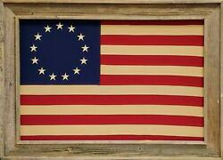 Framed Barnwood Betsy Ross Cotton Cloth Embroidered Flag | 30l X 42w Inches