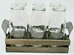 New Milk Dairy Glass Bottles In Gray Wood Crate Bottle Carrier Farmhouse Decor