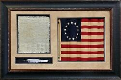 Framed Wavy Betsy Ross Flag With Declaration And Quill Shadowbox | 32l X 48w