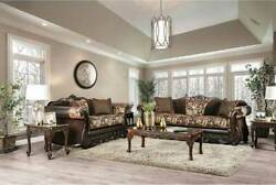 NEW Traditional Living Room Brown Wood Trim amp; Fabric Sofa Couch Loveseat Set RD5