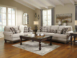 NEW Traditional 2 piece Living Room Tan Chenille Sofa Couch amp; Loveseat Set IG2I
