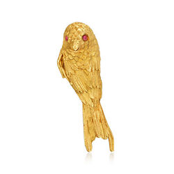 C. 1970 Vintage 18kt Yellow Gold Bird Pin With Ruby-accented Eyes