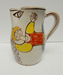 Giovanni Desimone Italy Pitcher Jug Hand Painted Signed Pottery 7 3/4 Vintage