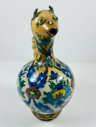 18th C. Antique Persian Islamic Glazed Painted Jug Vessel Unusual Horns Face