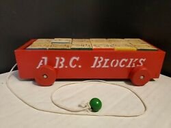 Vintage Child's Wood Alphabet Blocks Pull Toy In Small Red Cart Made In Japan