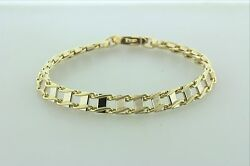 14k White And Yellow Gold Double Bar Wave Railroad Track Tie Design Bracelet - 8