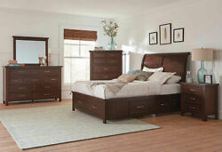 New Transitional Rustic Brown 5 Piece Bedroom Set W. Queen Size Sleigh Bed Ia7j