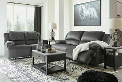 New Motion Living Room Gray Fabric Reclining 2 Piece Sofa Couch Loveseat Set F2d