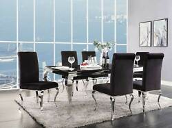 New Modern Dining Room 7 Piece Black Glass Top And Metal Legs Table Chairs Set Cb6
