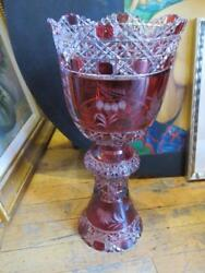 2800 Exquisite Large Empire Style Diamond Cut Etched Red Crystal Double Vase