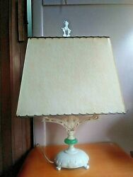 Antique Asian Style Lamp Cast Metal Jadeite Glass 2 Bulb Candle Finial W/ Shade