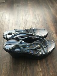 Prada Womens Strappy Black Leather Platforms Wedges Sandals Shoes Size Eur 36.5