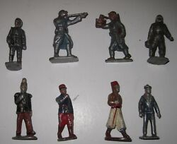 8 Wwii French Toy Soldiers 65mm Lead - Colonial. Parachute, Sailor, Soldiers,