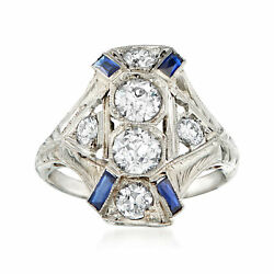Vintage Diamond And Synthetic Sapphire Cocktail Ring In 18kt White Gold Size 5.75
