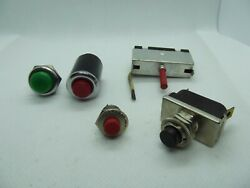 Lot Of 3vintageautomotivemarine Switches Green Red And Black Push Button