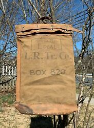 Vintage 40s Wwii U.s. Lincoln Rochester Trucking Co Leather Canvas Mail Bag.