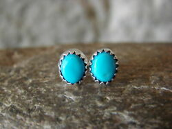 Navajo Indian Jewelry Sterling Silver Turquoise Dot Post Earrings