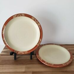 Lot Of 2 Denby Langley Fire Chilli Swirl 9 Salad Plates Made In England