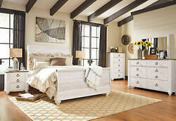 Traditional White Bedroom New Furniture - 5 Pieces Set W/ King Sleigh Bed Ia1s