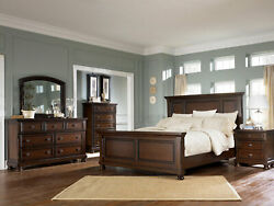 Traditional Cottage Cherry Brown Bedroom Furniture - 5pcs Queen Size Bed Set A2h